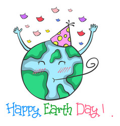 Happy earth day doodle style vector