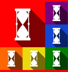 hourglass sign set of icons vector image