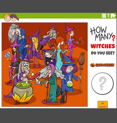 How many cartoon witches educational game for kids vector