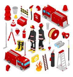 Isometric firefighter fireman with tank truck vector