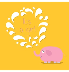 Its a girl Baby shower card with elephant and vector