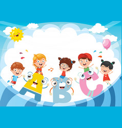 kids and alphabet characters vector image