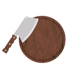 Knife and wood circle board vector