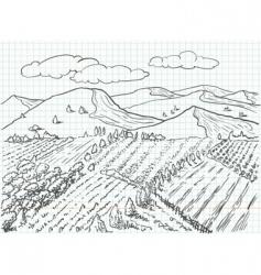 Landscape sketch vector
