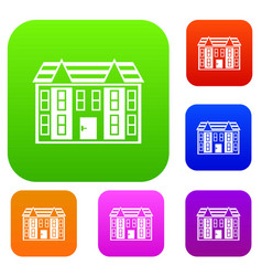 Large two-storey house set collection vector