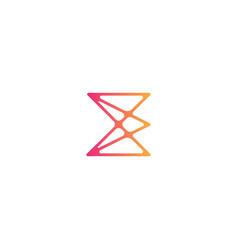 Letter e logo tumbled design vector
