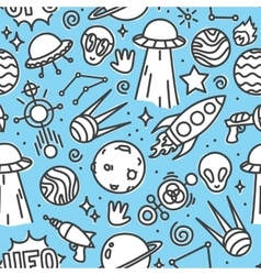 life in space seamless pattern blue vector image