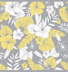 light yellow and grey drawing tropical vector image