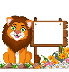 lion cartoon posing with blank sign vector image