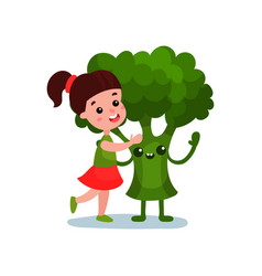 Lovely little girl hugging giant broccoli vector