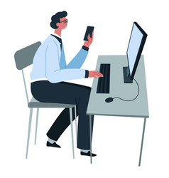 man working from home or at office vector image