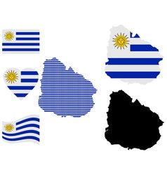 Map of Eastern Republic of Uruguay vector
