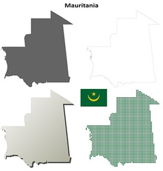 Mauritania outline map set vector image