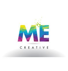 Me m e colorful letter origami triangles design vector