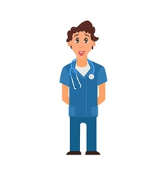 Medical man on blue coat Cartoon Character Flat vector image