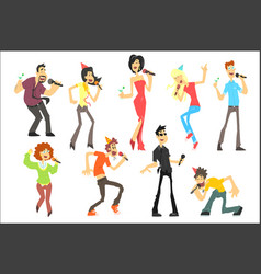 men and women singing karaoke with microphones set vector image