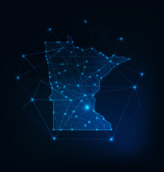 Minnesota state usa map glowing silhouette outline vector