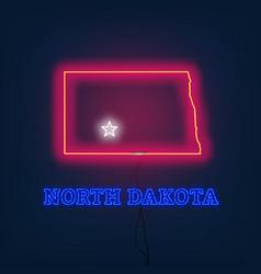 neon map state of north dakota on dark background vector image
