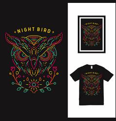 Night bird owl line art t shirt design vector