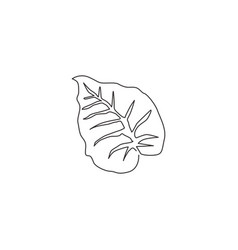 one continuous line drawing tropical leaf vector image