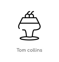 Outline tom collins icon isolated black simple vector