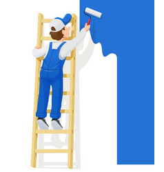 Painter at stairs paint wall vector