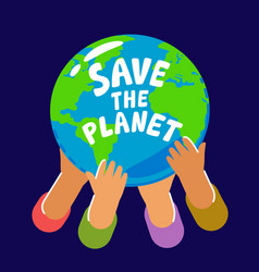 people holding planet earth hands hold globe vector image