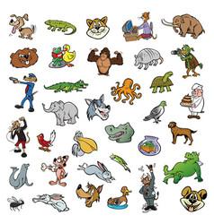 Random cartoon animal collection vector
