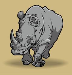 rhino black clipart cartoon vector image