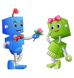 robot boy giving a flower for robot girl vector image