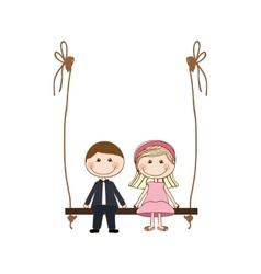 Romantic couple cute cartoon icon image vector