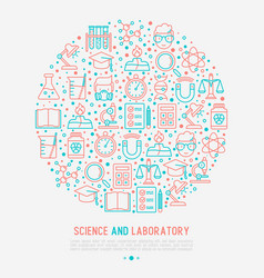 Science and laboratory concept in circle vector