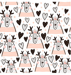 Seamless childish pattern with cute girl dear vector