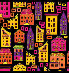 seamless house pattern new-01 vector image