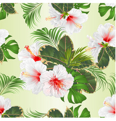 seamless texture with tropical flowers set vector image