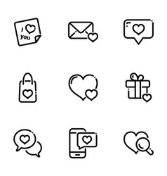 Set icons on a theme valentines day vector
