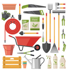 Set isolated garden tools or gardener items vector