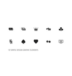 set of 10 editable game icons includes symbols vector image