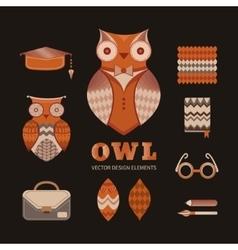 set owls vector image