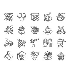 Set simple flat line art icon about beekeeping vector