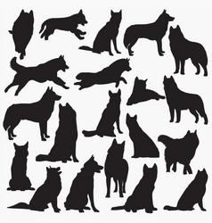 Siberian-husky-dog silhouettes vector