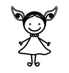Sketch silhouette front view girl with dress vector