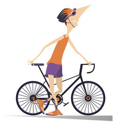 Smiling cyclist stays holding a bike isolated illu vector