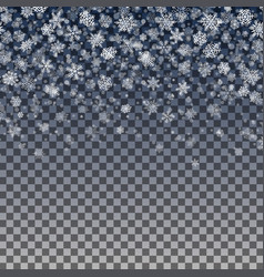 snowflakes falling on transparent background vector image
