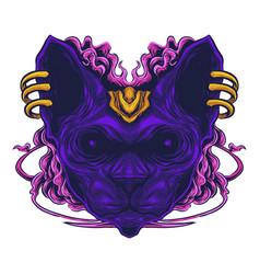 sphynx cat head esport mascot logo vector image