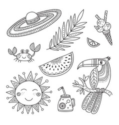 summer tropical set coloring page vector image