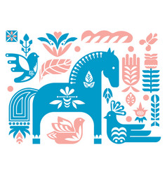 swedish dala horse pattern scandinavian seamless vector image