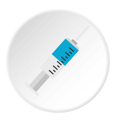 Syringe for injection with needle icon circle vector