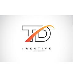 Td t d swoosh letter logo design with modern vector
