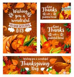 Thanksgiving day greeting card template set vector